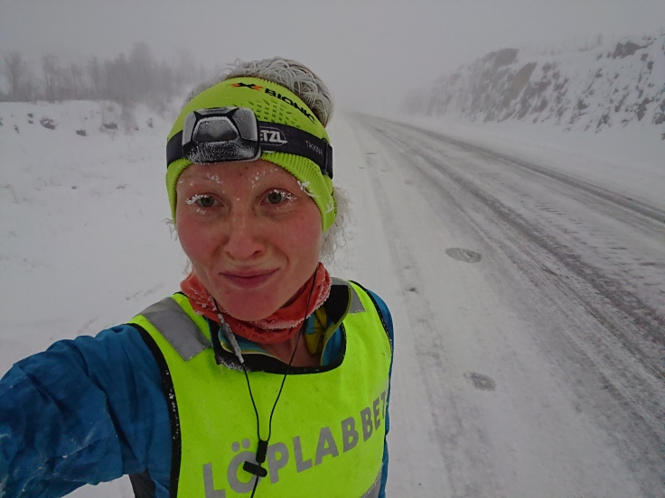 "I usually don't do much road running since I think the trails are so much more fun, and also because we only have one road that pass Abisko. But this winter I altered the snowmobile trails with some runs on the E10 to get some more ""proper"" running."