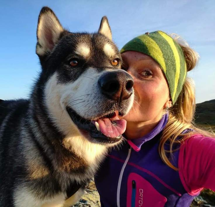 """Scout is my best running partner although he sometimes puts his paws down and tell me """"enough"""". Watching him run on the mountain fills me with gratitude."""