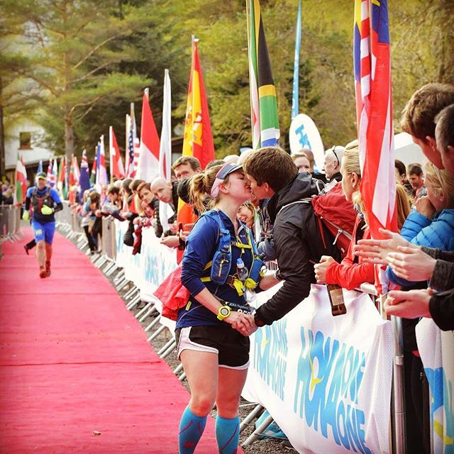 Kissing Max at the finish line of Stacey's first ever ultra-marathon, the Highland Fling 2016.
