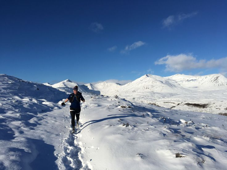 Stacey enjoying mountain running after moving to Scotland, Glencoe.