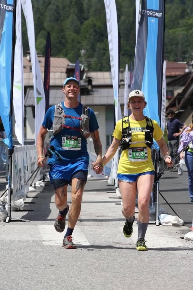 Finishing in DXT23 (Dolomiti trail-run) with my wife Louise.