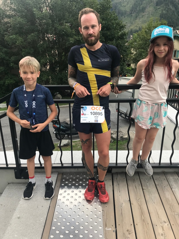 Joar with family just after OOC (UTMB week Mont Blanc).